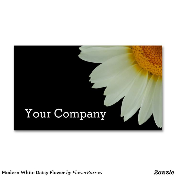 Modern White Daisy Flower Double-Sided Standard Business Cards (Pack Of 100)