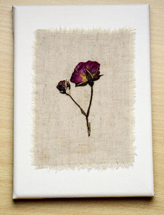 Pressed roses on fabric and canvas Original by AmaralFlowers