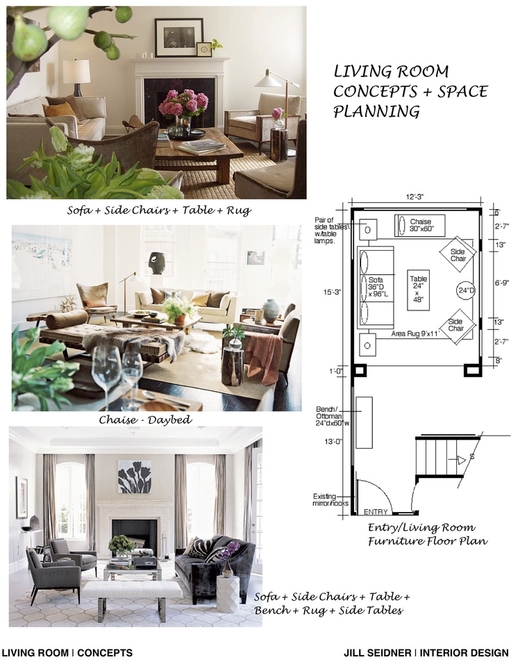 concept board and furniture layout for a living room