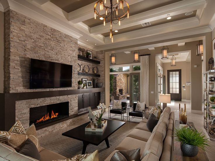 A Dramatic Coffered Ceiling Defines This Great Room That Opens To An Outdoor Fireplace Residence