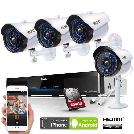 Elec 4ch 960h Dvr+4 Ir 1500tvl In/outdoor Cctv Security Cameras System 500gb Hdd Cctv/closed System-wired Bullet 500gb-elec-sr04c11h 4 8 United States Wired Manual>alarm>motion Detection>timing Channel Max Synchronized Playback Network Bum