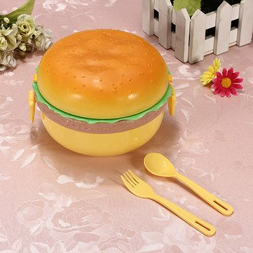 Only US$4.99 , shop 3 Layer Hamburger Shape Lunch Box Bento With Fork Spoon at Banggood.com. Buy fashion Lunch Boxes online.