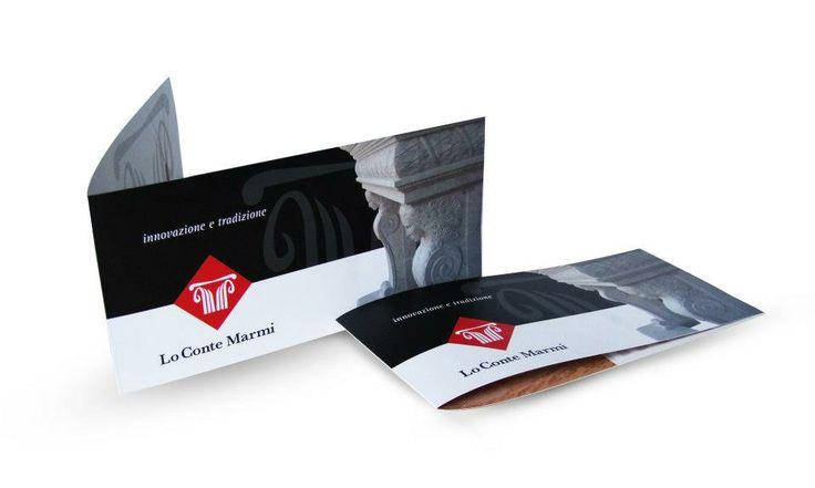 Ideazione | Progettazione e Stampa   Cliente: Lo Conte Marmi  Brochure | Esterno|  formato chiuso 21 cm x 10 cm  Carta Patinata 200g  Plastificazione Opaca