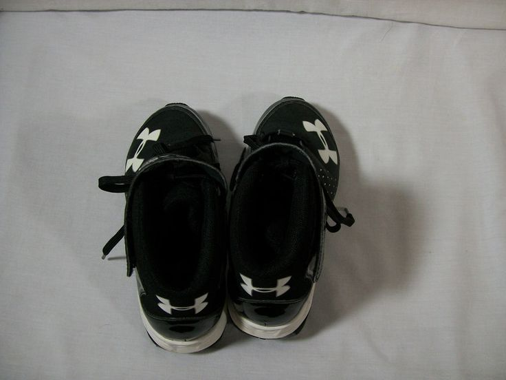 Under Armour Boys Football Cleats Size 2 Youth Black Laces & Velcro Faux Leather #UnderArmour