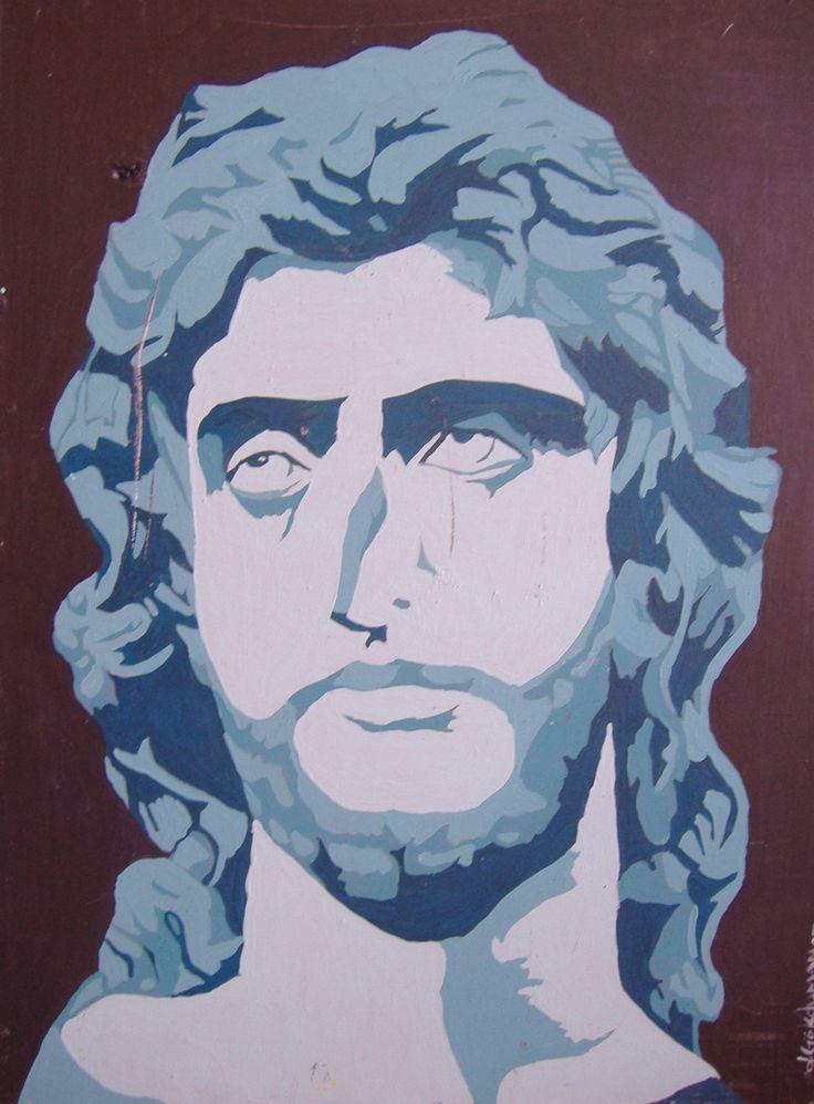Deniz Gökduman, Sakallı Bir Adam Büstü, Drolit ü.akr.b., 40 x 30 cm., 2005
