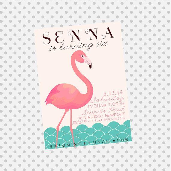 flamingo beach birthday | flamingo pool party birthday invite flamingo party invitation beach ...