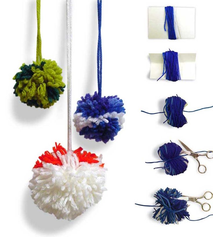 Make your own pom poms with yarn and little cardboard. #artprojectsforkids #yarncrafts