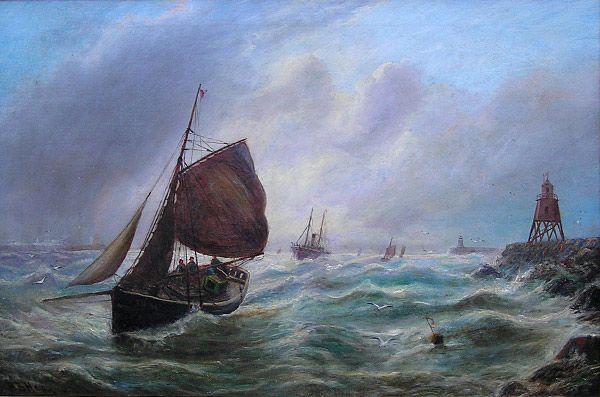 BB Hemy painting: Entering the Tyne