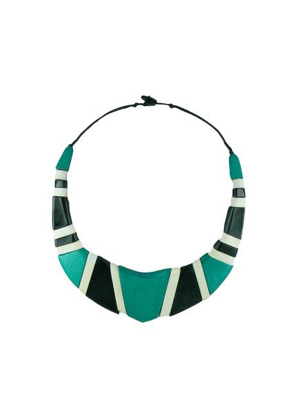Geo Bib Necklace - Teal $59.95 This stunning statement necklace will be sure to turn heads. This necklace features rows of painted wooden beads, and sits just on your collar bone. This piece is lightweight, statement and is so easy to wear. Don't miss out on this little treasure this summer! #leethalfashion #accessories