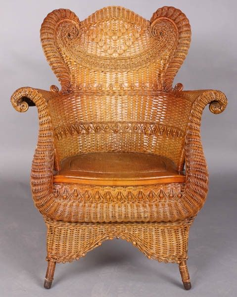 Lovely ANTIQUE VICTORIAN WICKER CHAIR HEYWOOD WAKEFIELD