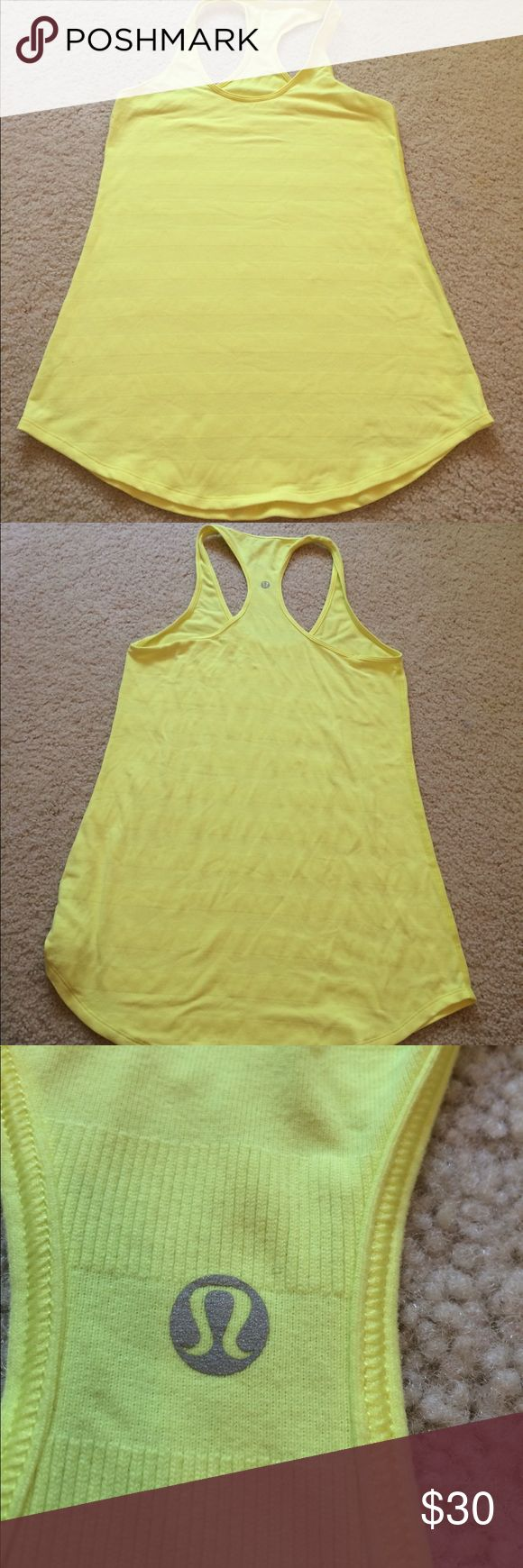 "Lululemon yellow tank top size 8. Lululemon yellow tank top size 8. Does not have size in it. Measures 15"" armpit to armpit, waist area 18"", 27"" top to bottom. Stretchy material. In good used condition. No piling. Comes from smoke free and pet free home. lululemon athletica Tops Tank Tops"