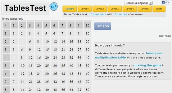 """""""Tablestest is a website where you can learn your multiplication table with the times tables grid.   You can train your memory by playing the game in different levels. You get points when you answer correctly and more points when you answer quickly. Your score can be saved if you register account."""""""