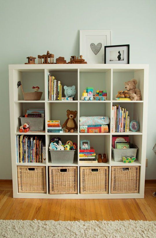 Love the way they used the cube bookshelf - Grayson's Modern Vintage Mix
