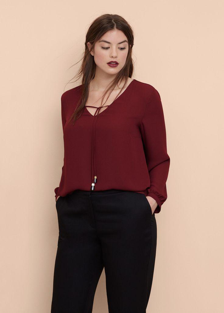 Струящаяся блузка  -  Большие размеры | Violeta by MANGO Виолетта бай МАНГО…