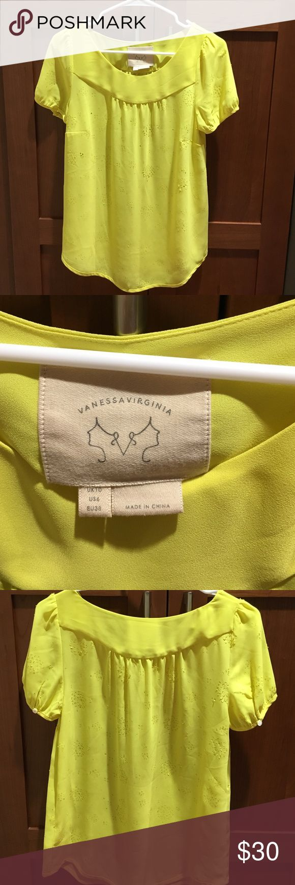 Yellow anthropologie top Yellow anthropologie flower pattern cut out top Anthropologie Tops Blouses