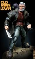 So I got the new Old Man Logan Figure from the Warlock wave and just couldn't leave it alone. Wanted to convert it to the old graphic novel look.  So I gave him a ton of details and upgrades. I resculpted the head and metal and wrinkles on sleeves, gave him a new jacket, new Doc Martin boots, a cowboy hat, a custom sculpted and casted baby hulk with a backpack to hold him in, a horse, and two