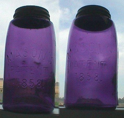 Beautiful Quart Size DEEP PURPLE color antique MASON 1858 fruit canning jar all original