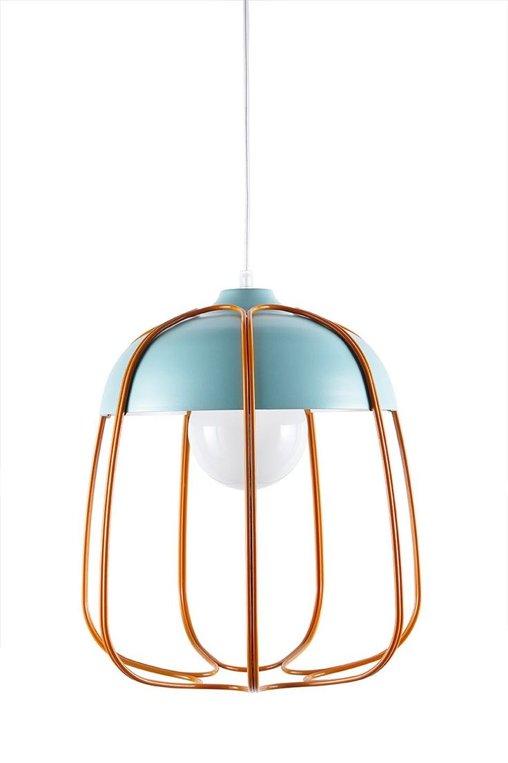Tull Cage Ceiling Lamp has a diffuser in painted aluminium, while the structure is curved steel wire, welded and painted. We use E27 socket, complies with EEC regulations. Dimensions: ø 36 × (h) 40 cm