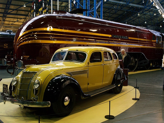 1935 Chrysler Imperial Airflow and the Duchess of Hamilton streamline locomotive.