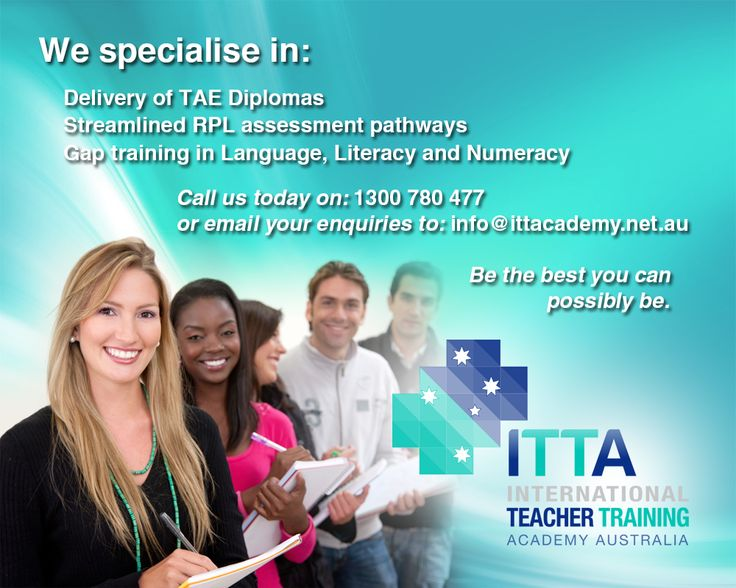Assessors of students enrolled in the TAE Certificate IV of Training and Assessment are now required to hold the TAE Diploma of Vocational Education and Training or equivalent. As the Diplomas are aimed at experienced Trainers and Assessors the Academy has developed a streamlined RPL assessment pathway with gap training in the LLN unit if required. Contact us to find out more by emailing: info@ittacademy.net.au or phone: 1300 780 477