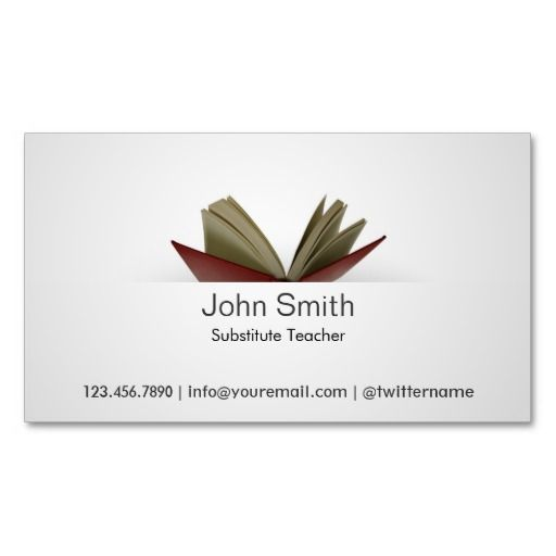 20 best substitute teacher business cards images on pinterest card subtle open book substitute teacher business card flashek Gallery