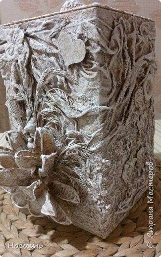 Декор предметов Мастер-класс Декупаж коробок из ничего Капрон Клей Краска Кружево фото 1
