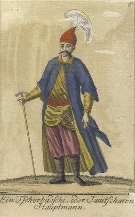 A Janissary Captain. Vorstellung der vorzuglichsten Gattungen des Türckischen Militairs und ihrer Officiere (Presentation of the genres of Turkish military men and their officers). Dated 1805
