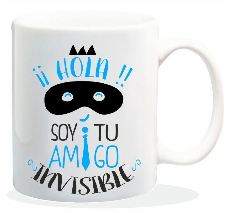 "Taza baggy  "" HOLA SOY TU AMIGO INVISIBLE"" http://www.worldmagic.es/tienda/164-baggy"