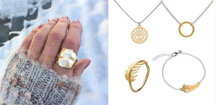 """Den gule gullfargen er virkelig populær på smykker akkurat nå. Etter en spesialbestilling ble vi inspirert til å lage varianter i 14 kt gull av våre mest populære smykker, for den som ønsker  et ekstra flott smykke. Vi kaller det """"Huldregull""""."""