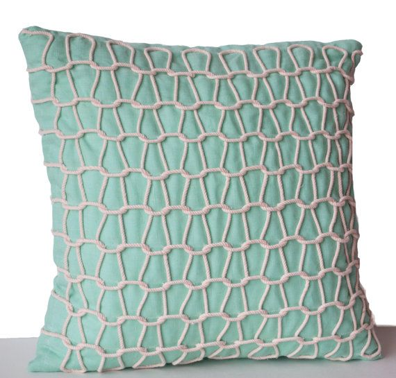 Teal Decorative Pillow Cover Linen Pillow Case by AmoreBeaute