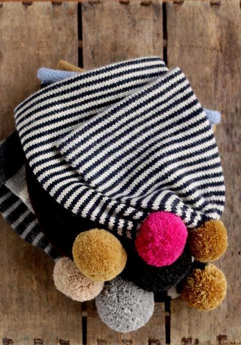 Fournier striped hats with pom-poms