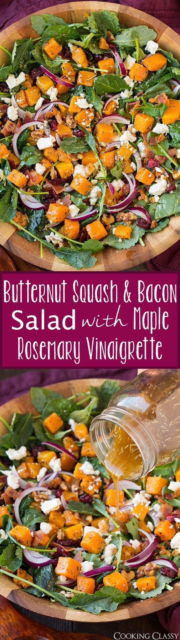 Butternut Squash and Bacon Salad with Maple-Rosemary Vinaigrette - the perfect fall salad! Love all the flavors in this salad!