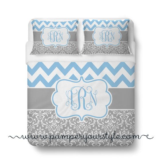 Chevron and Damask Soft Gray and Light Blue Bedding Duvet Cover or Comforter - Personalize Monogram - Pick Your Color and Size