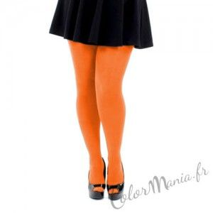 collants unis couleur orange fluo grande taille color mania - Collants Colors