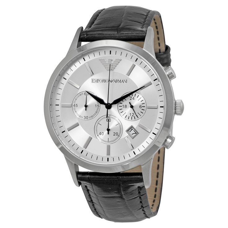 Armani Classic Chronograph Silver Dial Black Leather Men's Watch AR2432 - Emporio Armani - Shop Watches by Brand - Jomashop