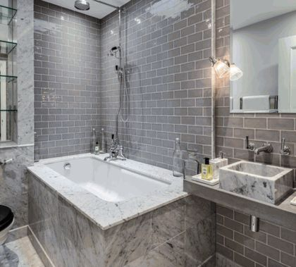 Smoke gray glass 3x6 subway tile 8mm bathroom ideas pinterest nice marbles and gray - Nice subway tile bathroom designs with tips ...