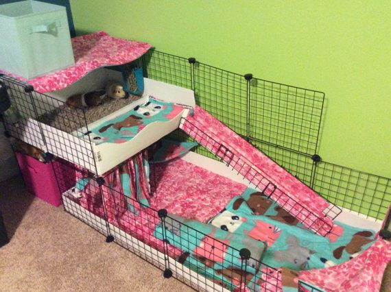 """2x4 bottom 2x2 top CC Guinea Pig Cage 14""""x14"""" Wire Grid Panel Cage with Corrugated Plastic Rabbit Hedgehog 4 Panels Long 2 Panels Wide by LilFroggyDesigns on Etsy https://www.etsy.com/listing/524101510/2x4-bottom-2x2-top-cc-guinea-pig-cage"""