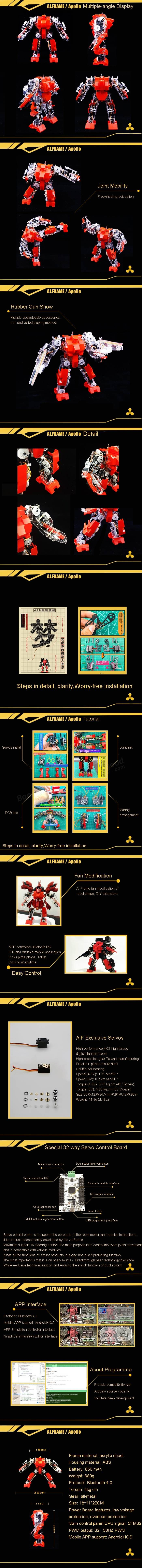 AI.Frame Apollo AIF-44-0 Humanoid DIY Robot Kit Compatible with Arduino Sale - Banggood.com