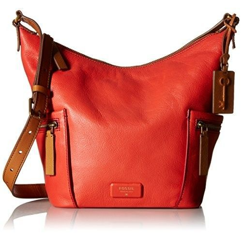 Fossil Emerson Small Hobo Shoulder Bag, Tomato, One Size