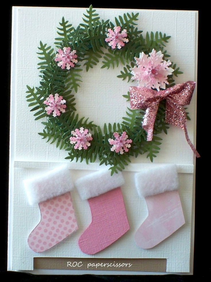 love the pink: Christmas Cards Tags, Christmas Wreaths, Cards Ideas, Pink Christmas, Cards Christmas, Holiday Cards, Paper Art, Christmas Cards Aw, Christmas Ideas