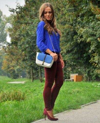 Stylizacja Blue Cashmere bardzo dobrze łączy dwa niezwykle modne kolory tego sezonu - bordo i kolor kobaltowy. Całość uzupełnia dwukolorowa torebka i bordowe szpilki. Świetna stylizacja na jesień!