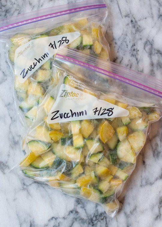 Bags of frozen zucchini