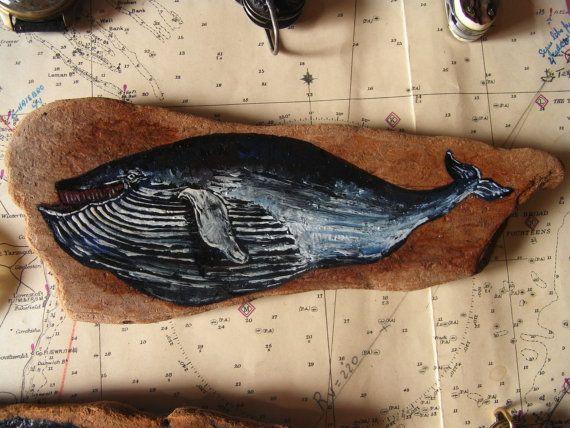 """Olio di balena blu stile antico opera su legno pittura disegno nautico 9 x 3, 5"""" 23 x 9 cm.  Dipinto da Juan Bosco on Etsy."""
