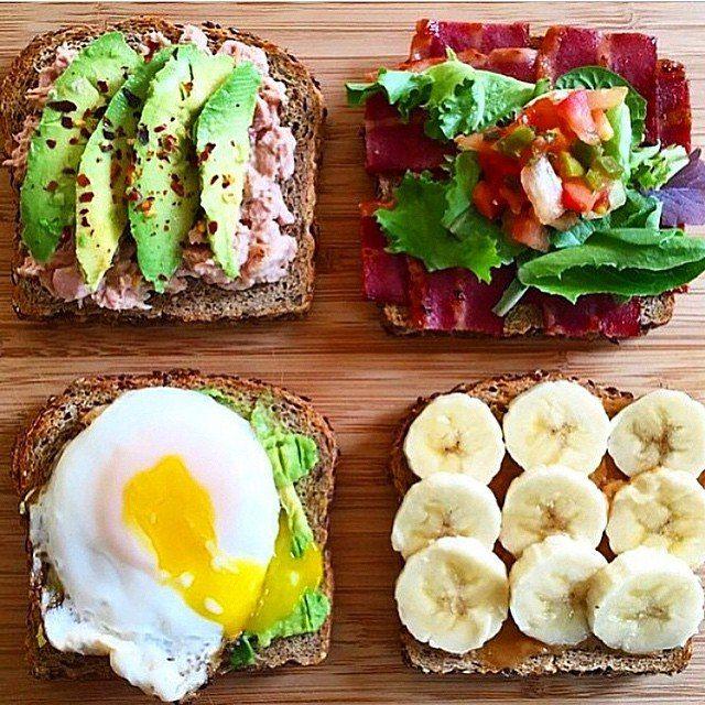 Идеи бутербродов на завтрак с мультизерновым хлебом 💯🔝✔авокадо + консервированный тунец ✔авокадо ( растертое в пасту )+ жареное яйцо ✔ореховая паста ( приготовленная самостоятельно