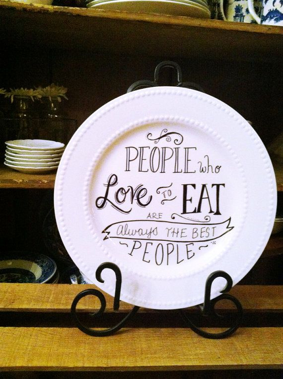 Hand Lettered Plate by NaturesPatina on Etsy, $15.00
