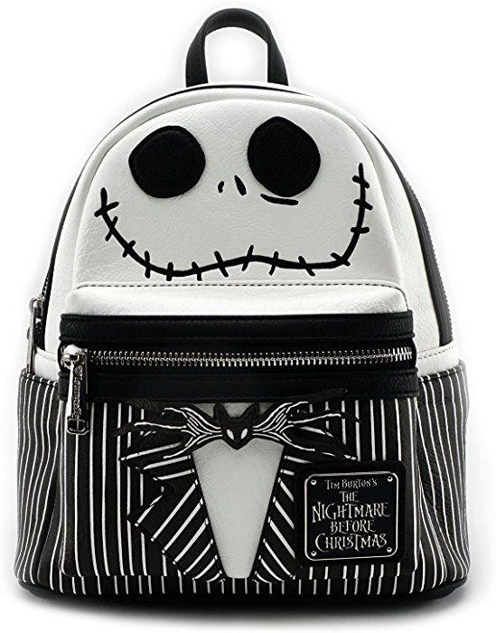 Amazon.com  Loungefly Nightmare Before Christmas Jack Mini Backpack  Black White  Shoes 3045f8f712d7c