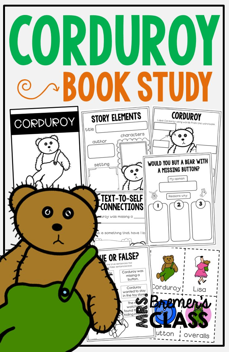 Corduroy book study companion activities to go with the book by Don Freeman.