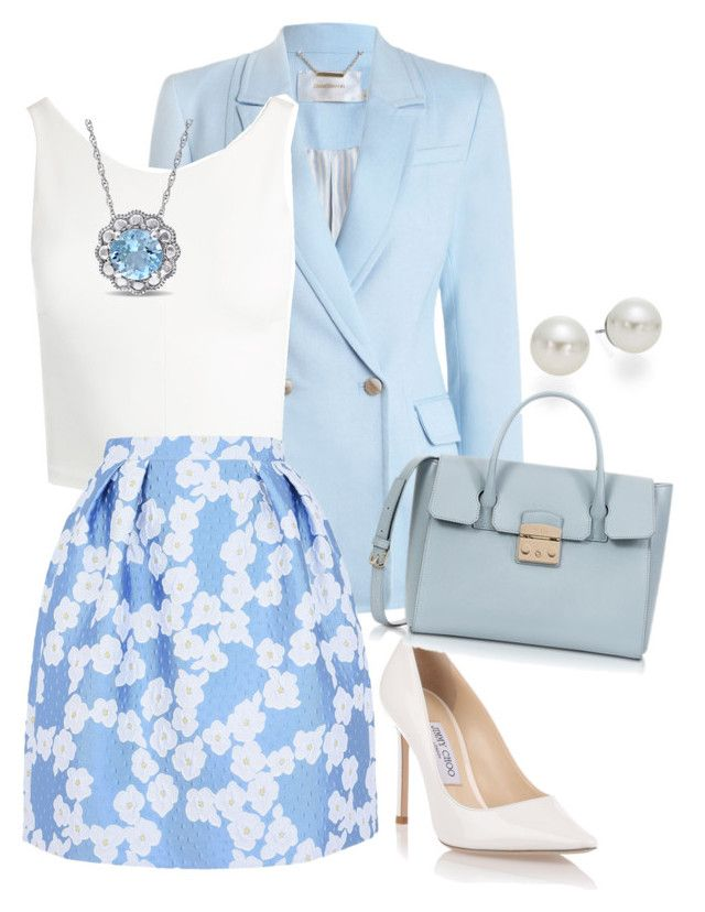"""Formal Look : Beautiful in Blue"" by devarahma on Polyvore featuring Zimmermann, Sans Souci, Giorgio Grati, AK Anne Klein, Jimmy Choo and Furla"
