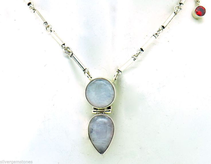 Rainbow Moonstone and Sterling SIlver Necklace- with Garnet Accent gem.