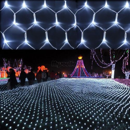 us plug 300led net string fairy light lighting christmas wedding party white msf - Netted Christmas Lights
